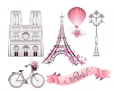 Paris symbols and landmarks. Vector set