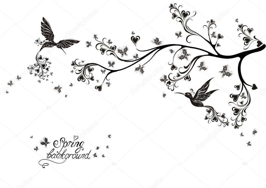 Spring tree and flying birds. Vector illustration