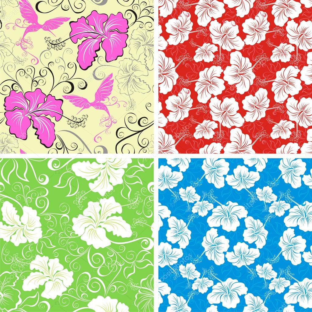 Seamless hibiscus flower background . Collection Hawaiian patterns