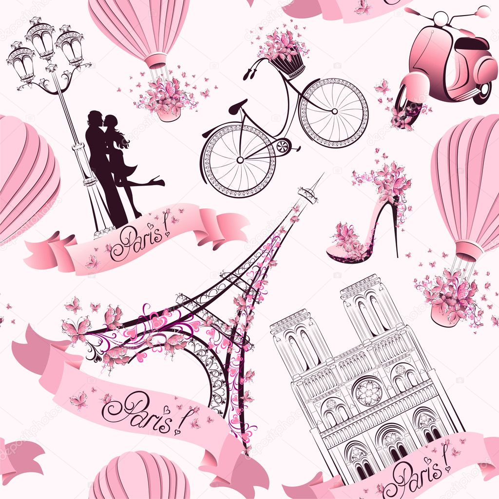 символы Парижа бесшовный фон. романтическое путешествие в Париж. вектор