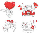Fotografie Couple in love. Set of funny pictures happy sheep. Idea for greeting card with Happy Wedding or Valentines Day. Cartoon doodle vector illustration