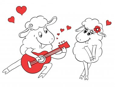 Couple in love. Romantic couple sheep playing serenade on guitar. Idea for greeting card with Happy Wedding or Valentine's Day. Cartoon doodle vector illustration
