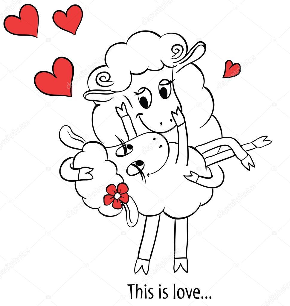 couple amoureux dessin anim deux moutons amoureux. Black Bedroom Furniture Sets. Home Design Ideas
