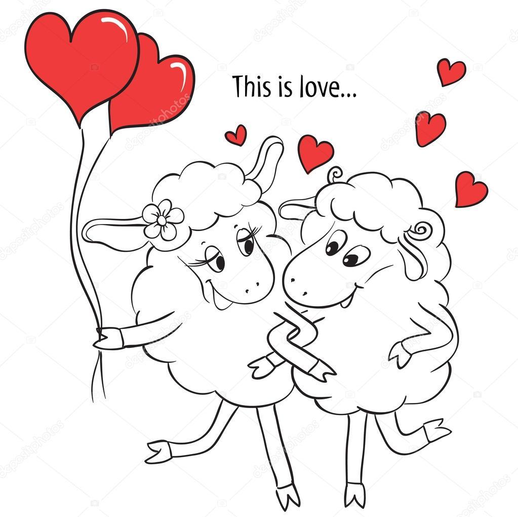 pareja de enamorados. Caricatura lindo dos enamorados ovejas con ...