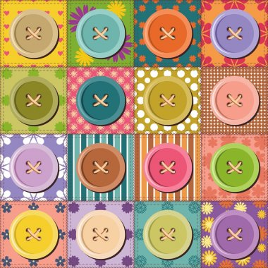 Patchwork pattern with buttons
