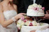 nevěsta a ženich řezání dort