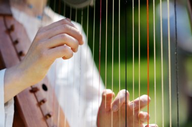 Closeup of a Woman playing a Harp
