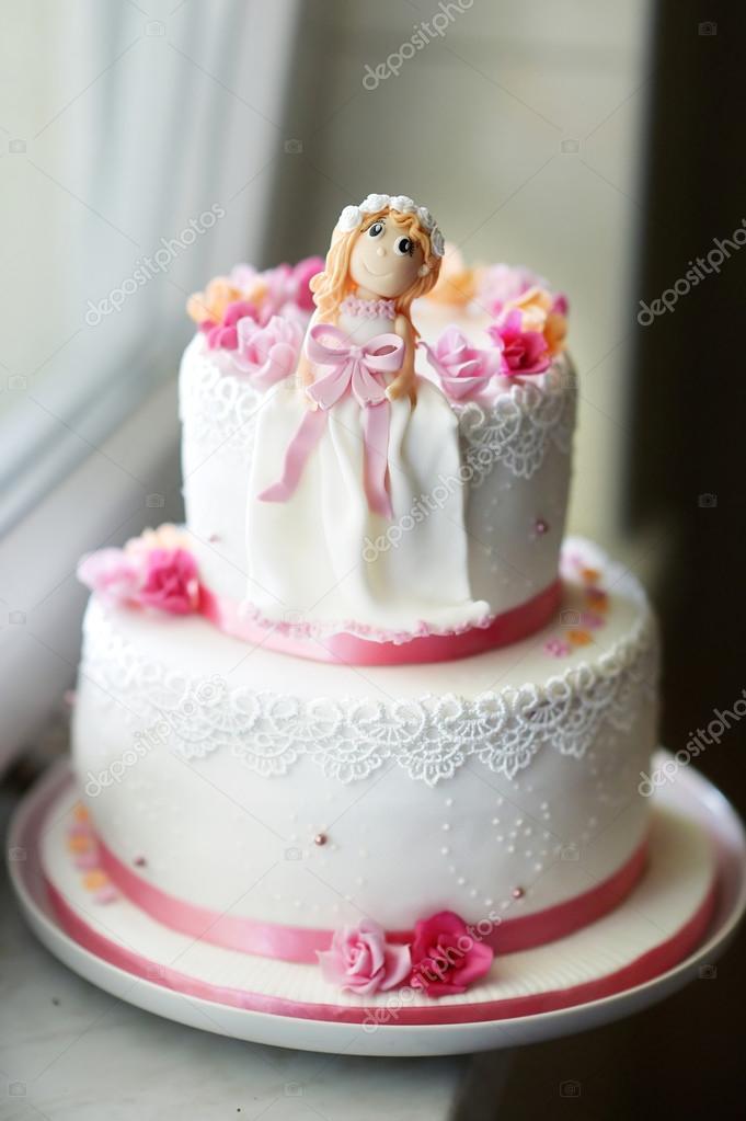 Strange Beautiful Pink Birthday Cake Stock Photo C Mnstudio 43465587 Funny Birthday Cards Online Sheoxdamsfinfo