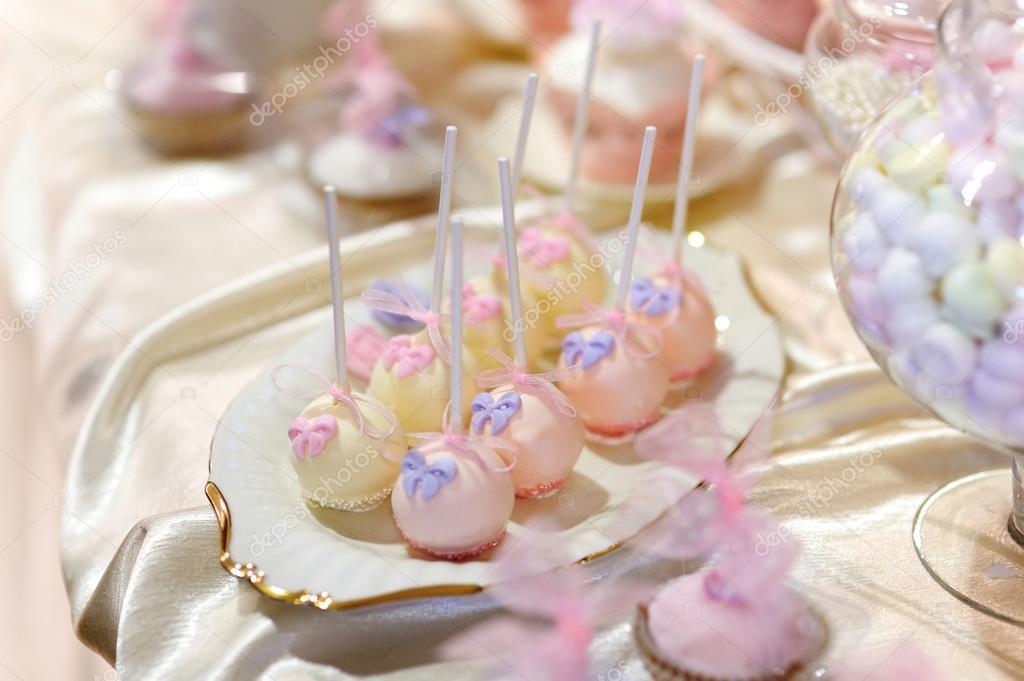 Pink Purple Wedding Cake Wedding Cake Pops In Pink And Purple Stock Photo C Maximkabb 43467417