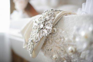 Wedding dress decoration close up