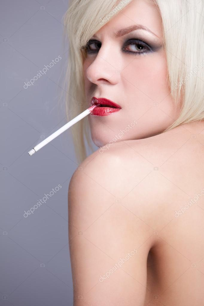 Beautiful blonde with cigarette
