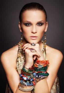 beautiful woman in bracelets