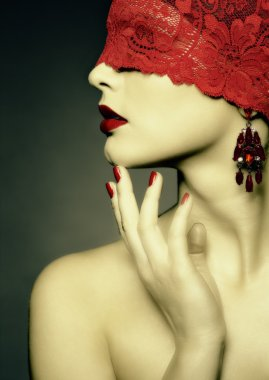 Retro woman with red ribbon