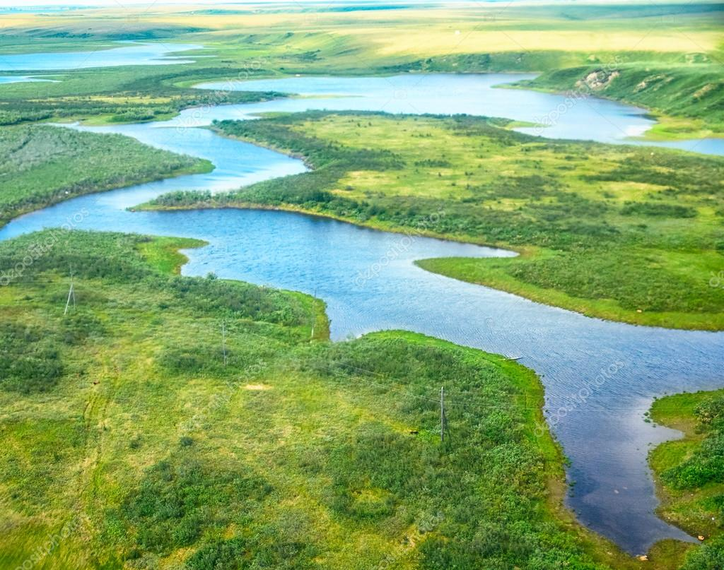 Aerial view on North Yakutia landscapes