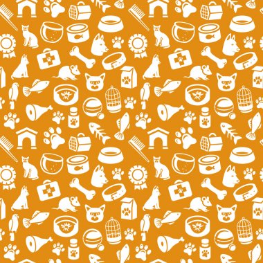 Pattern with funny cat and dog icons