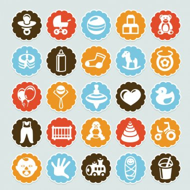 Set of vector stickers with kids and toys