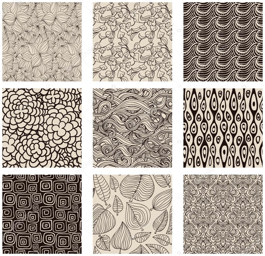 Set of abstract seamless patterns black and white