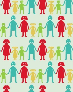 Vector seamless pattern with kids and parents
