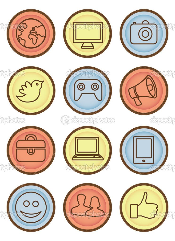Vektor helle Abzeichen mit Internet-Ikonen — Stockvektor © venimo ...