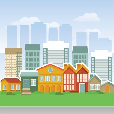 Vector city with cartoon houses and buidings - landsape clip art vector