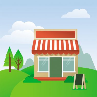 Store house with striped awning