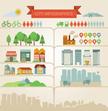 Elements for infographics about city and village