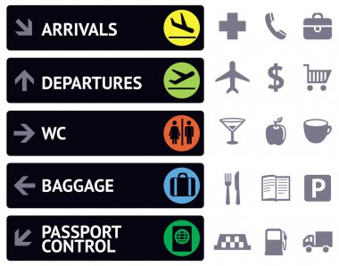 Vector collection of icons and pointers for navigation in airport stock vector