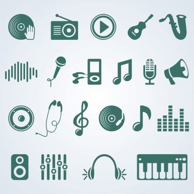 Vector set of music icons - silhouette pictogram stock vector