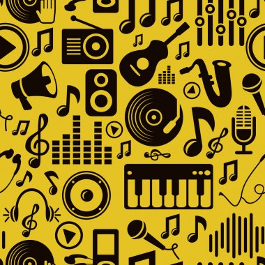 Vector music seamless pattern with icons