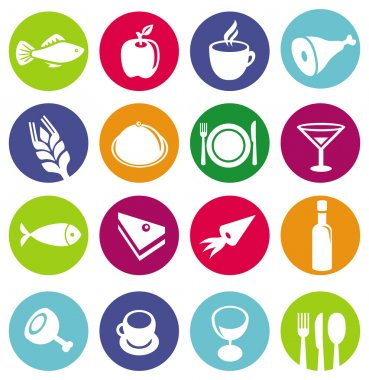 Vector set or restaurant icons and food - pictograms on circles stock vector