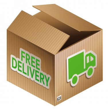 Vector box with free shipping icon