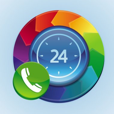 Vector 24 hour support icon