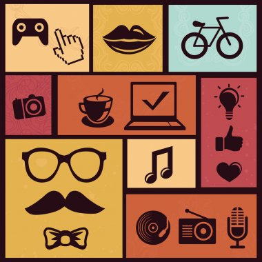 Vector set with trendy hipster icons and design element in retro style clip art vector