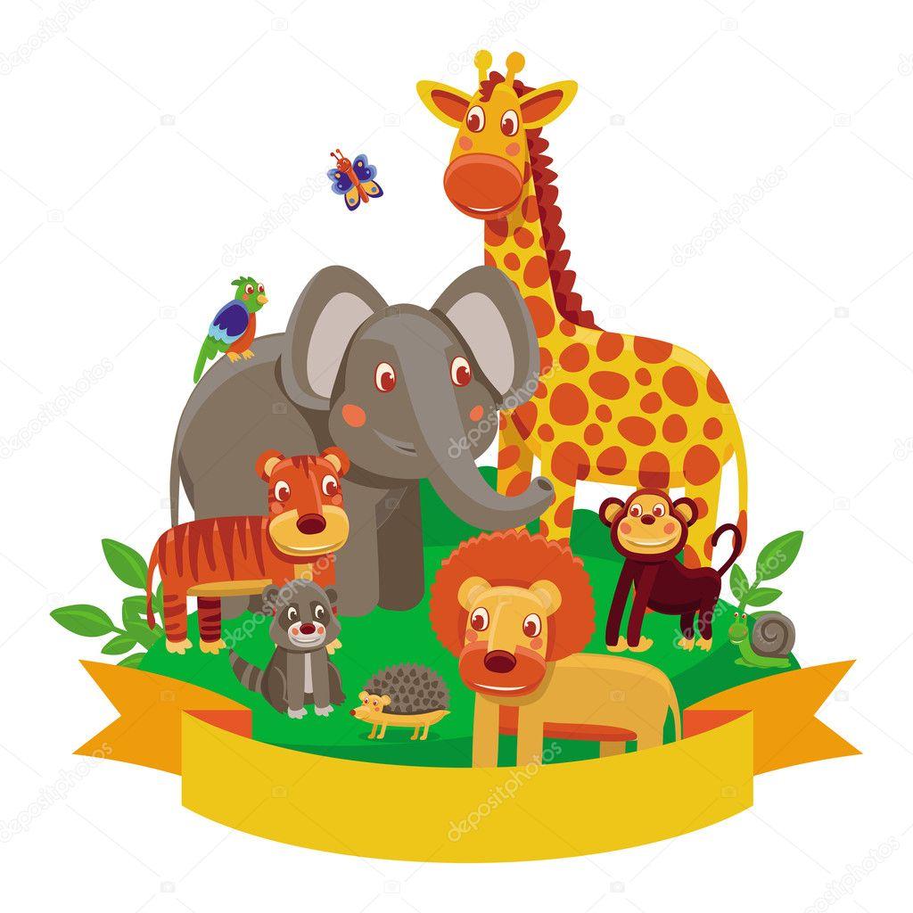 Vecteur de dessin anim animaux zoo image vectorielle - Dessin manga animaux ...