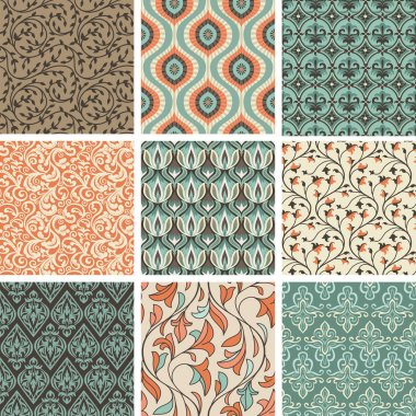 Vector set with vintage seamless patterns - abstract background in flat retro style stock vector