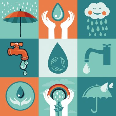 Vector set of retro flat banners - save water