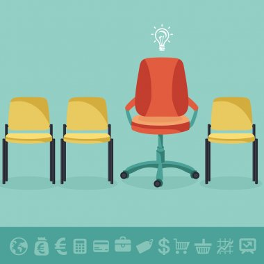 Vector office concept - office chairs in flat retro style and business icons stock vector