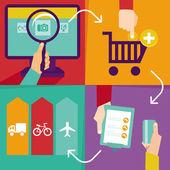 Vektor internetes vásárlás infographics