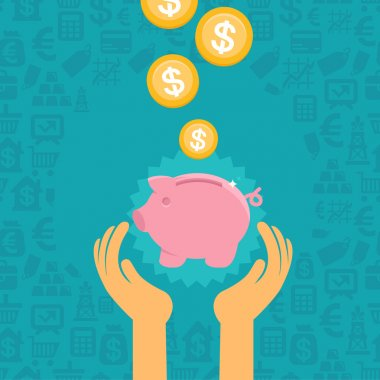 Vector piggy bank concept in flat style - money savings stock vector
