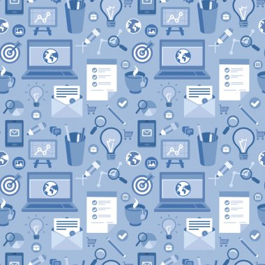 Vector seamless pattern with icons in flat style