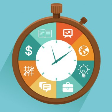 Vector flat concept - time management. Modern illustration with stopwatch and icons - how to control your life stock vector
