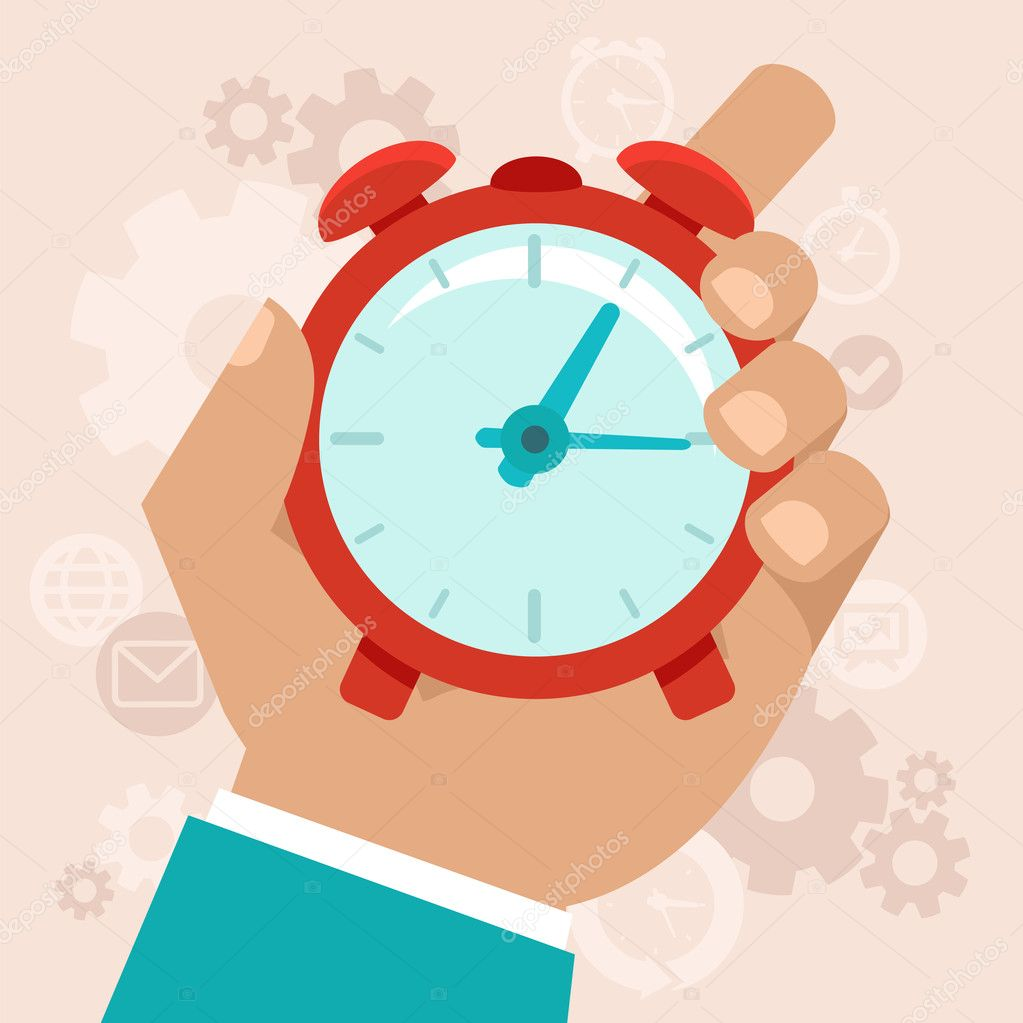 Time management concept in flat style