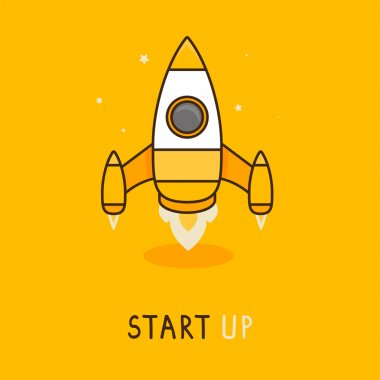 Vector launch icon in flat style - space rocket