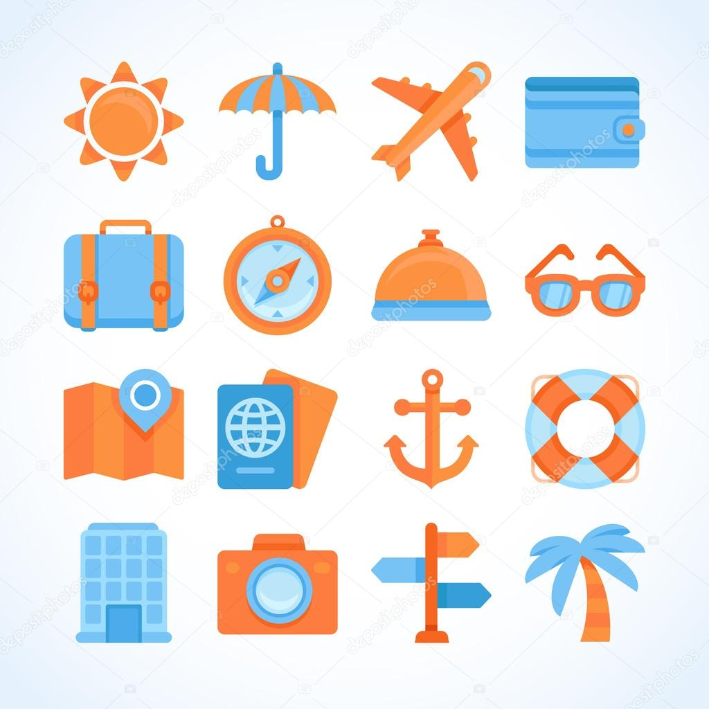 Flat Vector Icon Set Of Travel Symbols Stock Vector Venimo 45926133