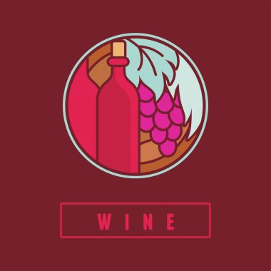 VEctor wine label in flat simple style