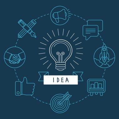 Vector creative idea concept in outline style