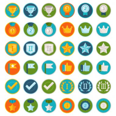 Vector set of 36 flat gamification icons