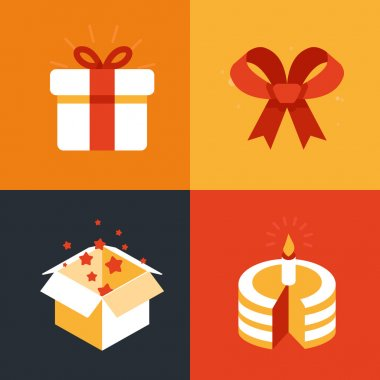 Vector present emblems and signs - gift illustration in flat style stock vector