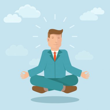 Vector businessman meditating in flat style