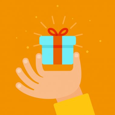 Vector hand giving present in flat style